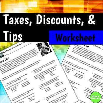 Sale Price Sales Tax Percent Off Fact Finder Worksheet | School ideas