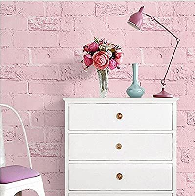 Blooming Wall Paitned Brick Pink Peel And Stick Wallpaper Decor Amazon Com Wallpaper Decor Brick Wallpaper Bedroom Peel And Stick Wallpaper