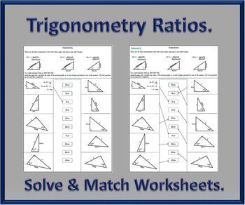 A Set Of Trigonometry Ratio Worksheets Asking To Calculate The Missing Lengths Before Matching To The Answers Included Trigonometry Worksheets Secondary Math