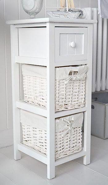 25cm Wide Narrow White Bathroom Storage Furniture Bar Harbor White Cottage Ba White Bathroom Furniture White Bathroom Storage White Bathroom Cabinets