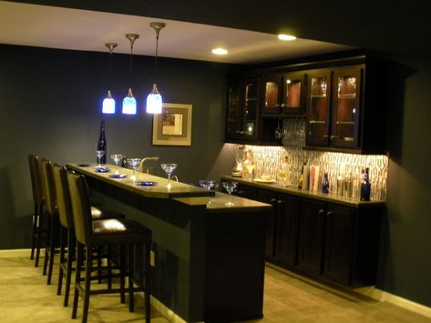 Basement bar---back wall cabinet layout and lights- this is exactly what we are going for!
