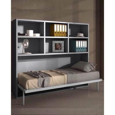 Joy Armoire Lit Escamotable Horizontale 1 Place 90x190 Pieds A Retournement Automatique Et Etageres Gris Murphy Bed Industrial Murphy Beds Bed