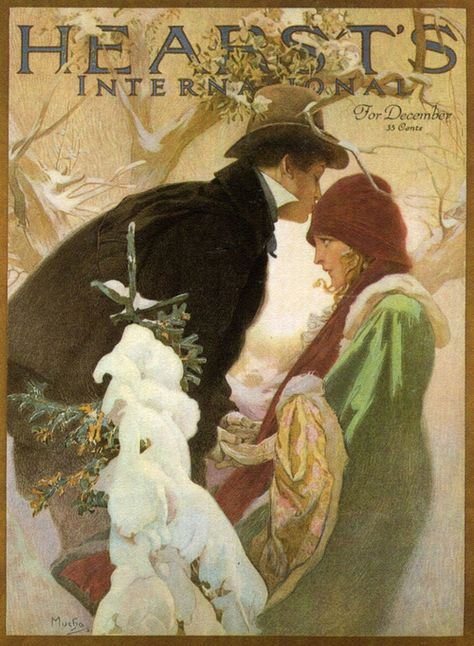 1922 Hearst International French Nouveau Mucha Vintage Advertisement Art Poster