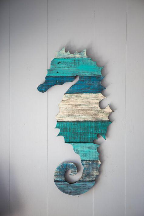 Seahorse Pallet Wood Wall Art by CoastalCreationsNJ on Etsy