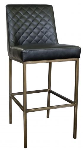 Home Stools Bar Stools Black Leather Bar Stool With Bronze Steel Frame Contract Quality Dining Room Small Bar Stools Restaurant Chairs For Sale Black leather bar stool