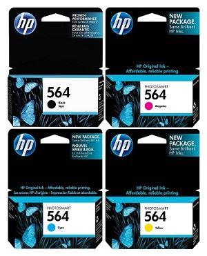 4 Pack Of Genuine Hp 564 B C M Y Ink Cartridge Ink Toner Ink