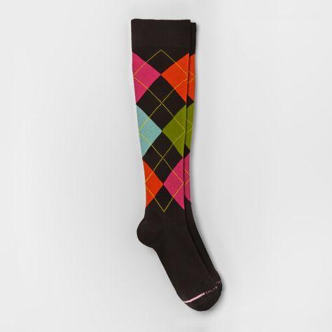 f2ba2bceed1 Women s Dr. Motion Mild Compression Knee High Socks - Argyle - Black 4-10