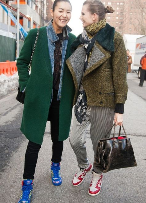 Liu Wen & Bette Franke street style at New York Fashion Week.