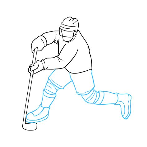 How To Draw A Hockey Player Really Easy Drawing Tutorial Hockey Players Hockey Drawing Hockey Player Costume