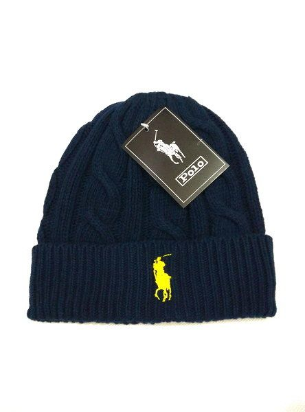 Men's / Women's Polo Ralph Lauren Big Pony Embroidered Cable Knit Ribbed Cuff Winter Beanie Hat - Navy / Lime
