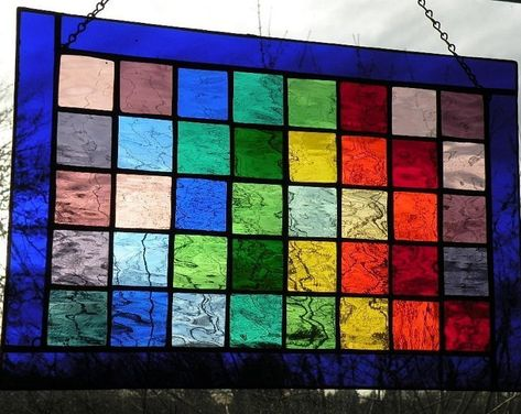 Colorful Stained Glass Panel With Rainbow Of Colors Black Etsy Stained Glass Stained Glass Window Hanging Stained Glass Panels