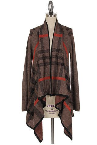 Plaid Waterfall Cardigan in Mocha | Cardigans | Pinterest | Plaid ...