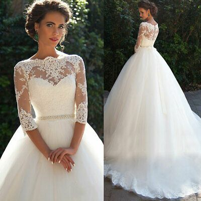 Ad Ebay Url Women Ladies Lace Wedding Dress Bridal Ball Gown 3 4 Sleeve Custom Size 2 20 Wedding Gowns Lace Ball Gown Wedding Dress Empire Wedding Dress