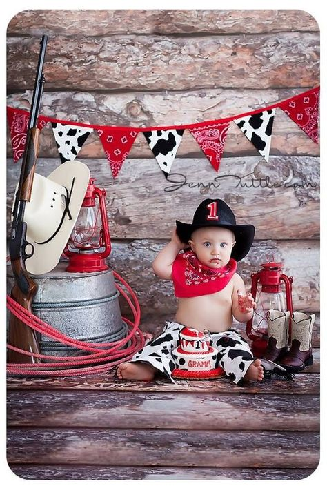 Cowboy Birthday Outfit Party Set in Cow Hide Diaper Cover Chaps Red Bandana and Cowboy Hat Cake Smas