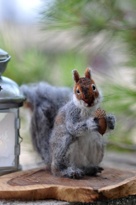 Needle Felted  Wool Animals  Needle Felt- Gray Squirrel-Daria Lvovsky.