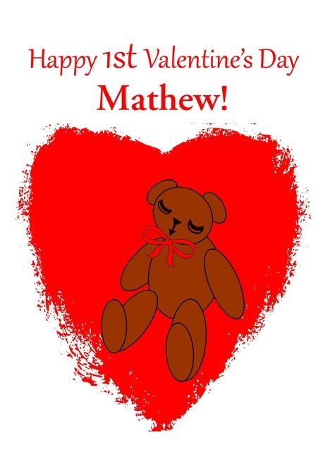 Custom Babys 1st Valentine Rsquo S Day Bear In Red Heart Card Ad Affiliate Valentine Rsquo St Custom