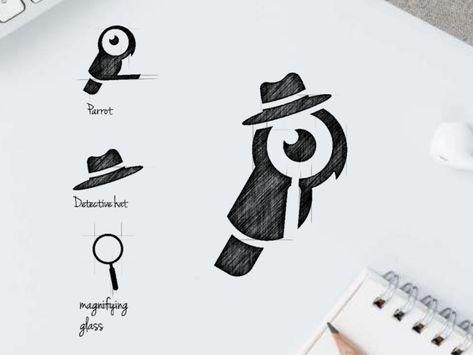 parrot detective logo design