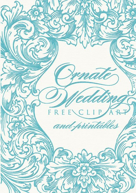 Ornate wedding clip art Wrap Ribbon Tags and Bags Pinterest - free invitation clipart