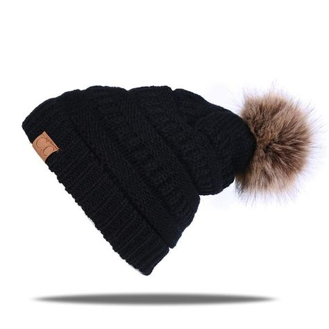 f26b88f449b 2018 Newest CC label beanie cap for women Autumn winter warm hat with  cashmere cute Fur Pom Pop knitted hats outdoor ski caps