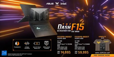 ASUS TUF DASH F15 with RTX™ 3060, now available for pre-orders!