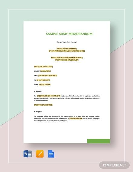 Sample Army Memo Template Free Pdf Google Docs Word Apple Pages Template Net Memorandum Template Memo Template Memorandum
