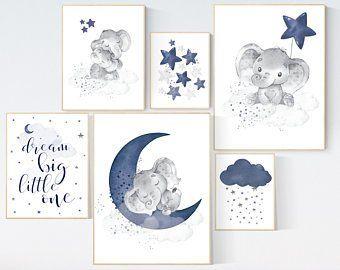 Nursery decor boy elephant nursery wall art boy navy Blue | Etsy