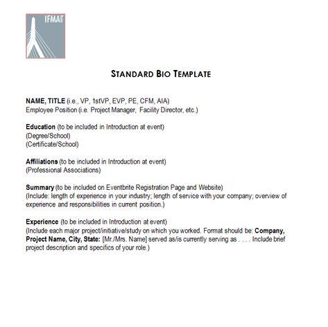 STANDARD BIO TEMPLATE MISCELLANEOUS Pinterest Template - company bio template