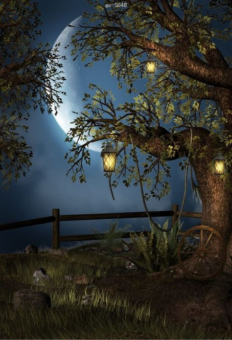 Forest Tree Full Moon Photo Background Photography Studio Backdrop Props
