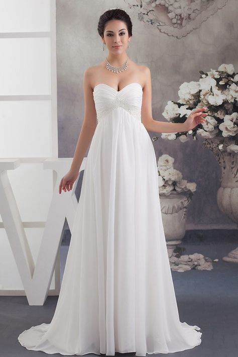 e325abf6b4f Empire Sweetheart With Beading Ruched Chiffon Maternity Bridal Gown  Pregnancy Wedding Dress