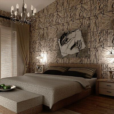 10m 3d Egyptian Stone Carving Waterproof Embossed Textured Pvc Wallpaper Roll Ebay Manufactured Home Decorating Wallpaper Decor Living Room Office