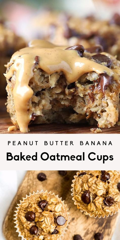 Delicious peanut butter banana baked oatmeal cups made with protein-packed peanut butter and naturally sweetened with bananas and just a touch of pure maple syrup. These easy banana baked oatmeal cups are easily gluten and dairy free, freezer-friendly and Healthy Sweets, Healthy Dessert Recipes, Healthy Baking, Baking Recipes, Snack Recipes, Healthy Food, Eating Healthy, Health Desserts, Healthy Sweet Snacks