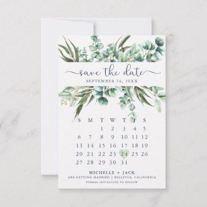 Greenery Calendar save the date cards