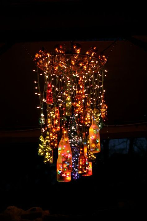 Old wine bottles and Christmas lights