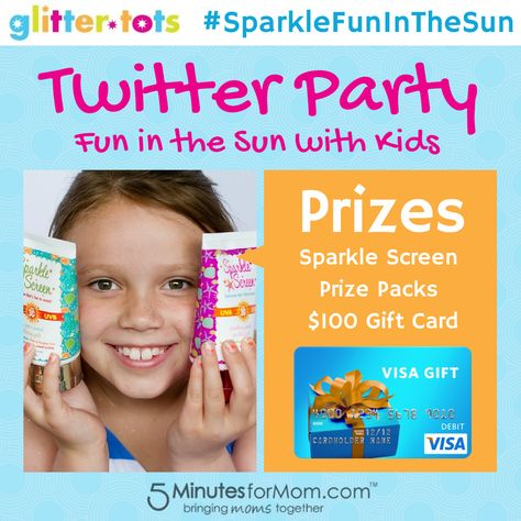 Join the #SparkleFunInTheSun Twitter Party with @SparkleScreen sponsored by GlitterTots - a mom-owned company making safe sunscreen that's FUN to wear.  #TwitterParty #SummerFun #Sunscreen