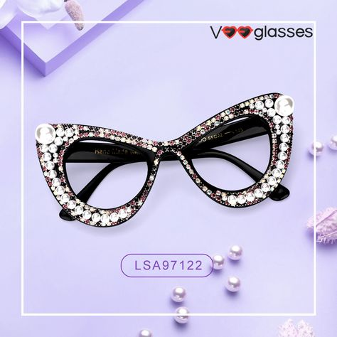5e046dffdb Handmade stylish cat eye frame Designed with delicate pearl ornaments 🛍️Up  To 50% Off 🤩 Deserve A Try  veeglasses  blackfriday  cateye  frames   eyewear ...