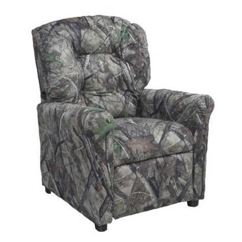 Brazil Furniture 4 Button Back Child Recliner Camo Gray With