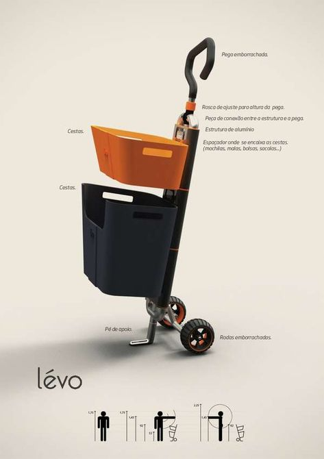 Basket-Toting Trolleys Levo Shopping Cart