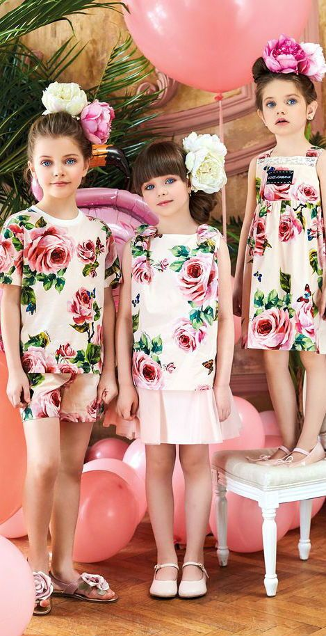4a3ccbe81f95 Adorable celebrity models wearing Dolce & Gabbana Rose Floral Pattern Pink  Christmas in July Dress. Gorgeous Mini Me look inspired by the Dolce &  Gabbana ...