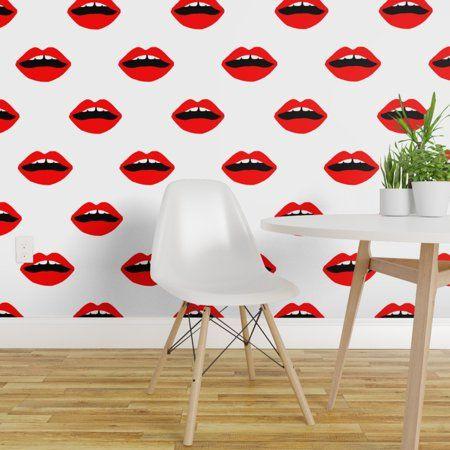 Peel And Stick Removable Wallpaper Lips Red Black Lipstick Makeup Valentines Walmart Com Removable Wallpaper Lip Wallpaper Peel And Stick Wallpaper