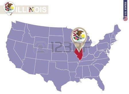 Estado De Illinois En EEUU Mapa Bandera De Illinois Y El Mapa - Mapa de illinois