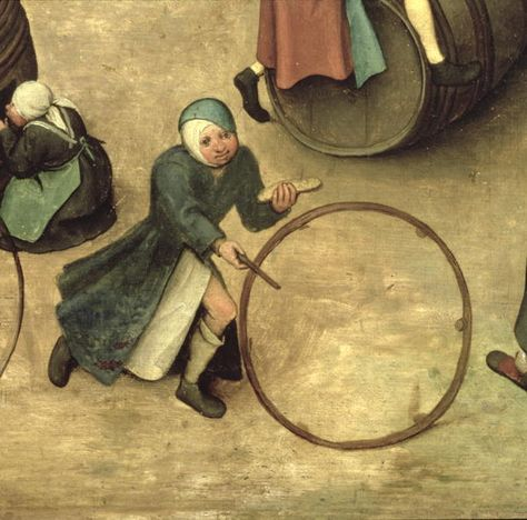 detail of boy with hoop from Children's games by Pieter Brueghel