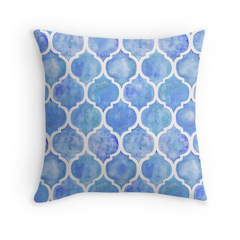 Cornflower Blue Moroccan Watercolor Pattern Throw Pillows