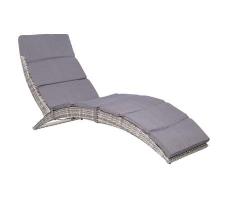 Vidaxl Skladany Lezak Z Poduszka Polirattan Szary Sun Lounger Outdoor Decor Outdoor Furniture