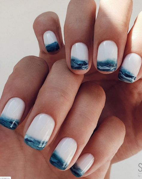 Beautiful Manicure Nails For Short Nails Design Ideas - - Square & Almond Nails -Short nails design, short acrylic nails, short square nails, short coffin na - Wave Nails, Sea Nails, Short Nail Designs, Fall Nail Designs, Cute Simple Nail Designs, Funky Nail Designs, Easy Nail Art Designs, Tropical Nail Designs, Tropical Nail Art