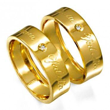 Alianca De Ouro Com Gravacao Externa E Diamante As0412