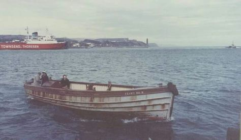 The Old Islandmagee Ferry with The Townsend Thoresen leaving Larne Harbour in the background.