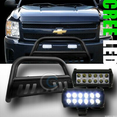 Sponsored Ebay Fit 07 10 Silverado Sierra 2500 Matte Blk Bull Bar Guard 36w Cree Led Fog Lights Cree Led Led Fog Lights Cree Led Light Bar
