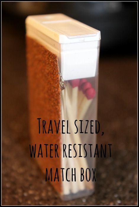 A quick and easy solution to keeping your matches water resistant, as well as pocket sized while you are camping or backpacking. Â Simply use a small plast