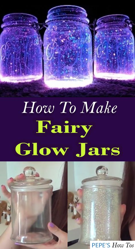 """Enchant your room with something you'll sure enjoy staring and that you can actually make yourself. Here's a DIY glow jar that gives off a """"magical world in a jar"""" vibe you will love. Glow Stick Crafts, Glow Stick Jars, Glow Sticks, Fairy Glow Jars, Fairy Lights In A Jar, Jar Lights, Mason Jar Crafts, Bottle Crafts, Neon Crafts"""