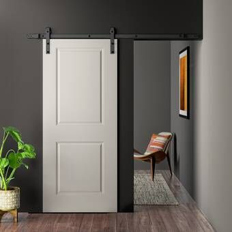 Paneled Manufactured Wood Primed Craftsman Barn Door Without Installation Hardware Kit Barn Door Barn Door Hardware Diy Closet Doors